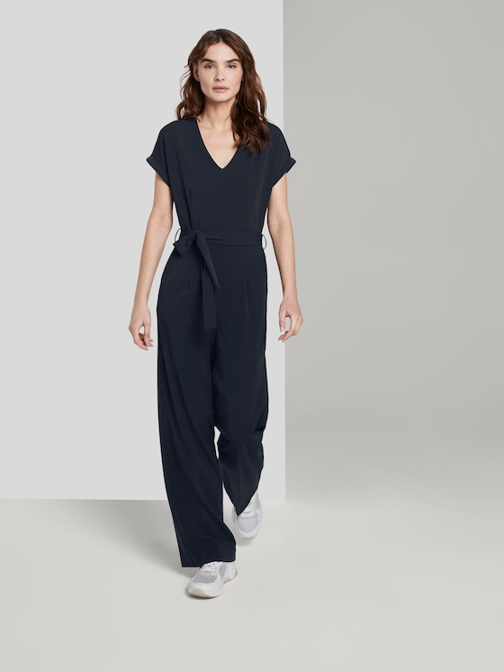 Jumpsuit mit Bindegürtel - Frauen - Sky Captain Blue - 5 - TOM TAILOR