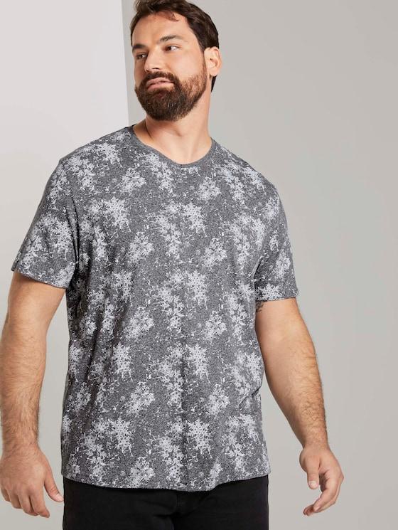 T-Shirt mit ganzflächigem Muster - Männer - grey snowflake design - 5 - Men Plus