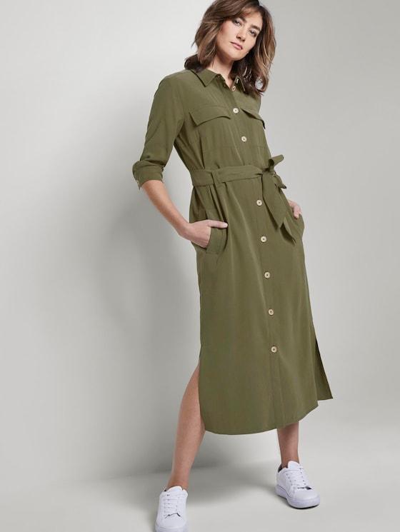 Blusenkleid mit Bindegürtel in Midi-Länge - Frauen - Woodland Green - 5 - TOM TAILOR
