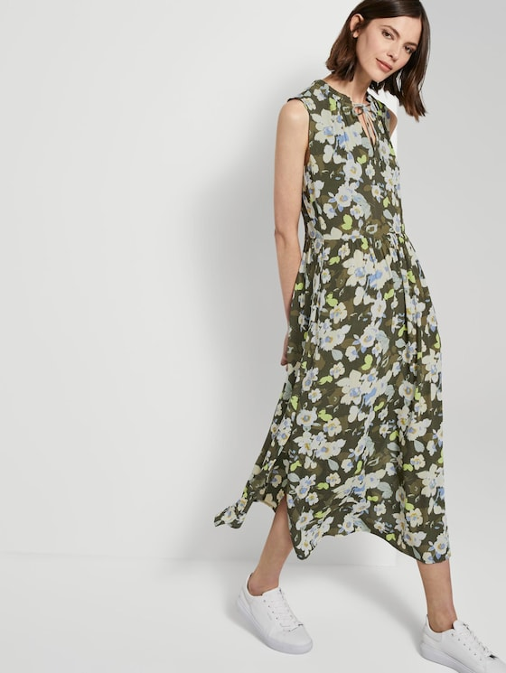 Sleeveless maxi dress with a pattern - Women - khaki floral design - 5 - TOM TAILOR