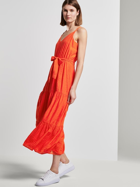 Maxi Trägerkleid mit Volants - Frauen - strong flame orange - 5 - TOM TAILOR
