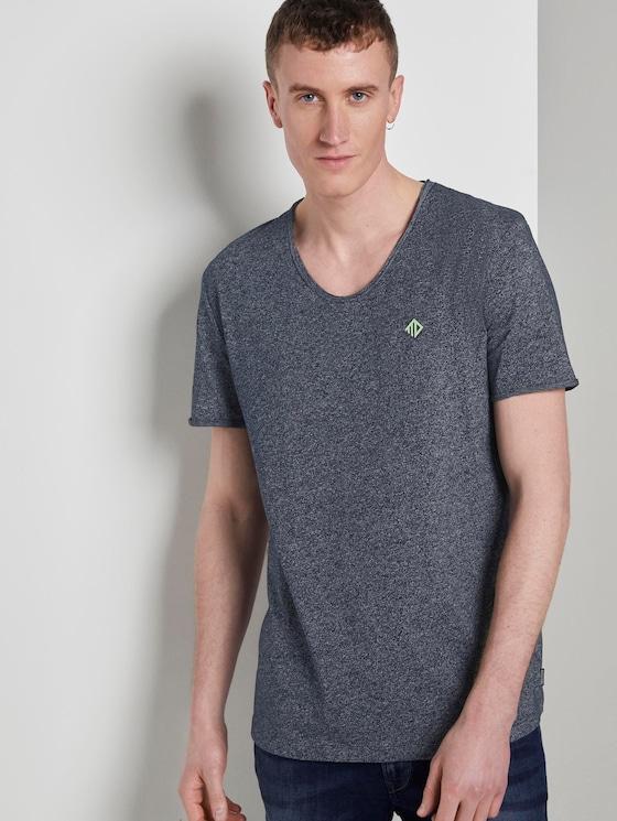 Strukturiertes T-Shirt mit V-Ausschnitt - Männer - Sky Captain Blue Non-Solid - 5 - TOM TAILOR Denim