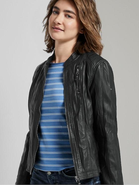 Jacke aus Lederimitat in Crincle-Optik - Frauen - Black - 5 - TOM TAILOR
