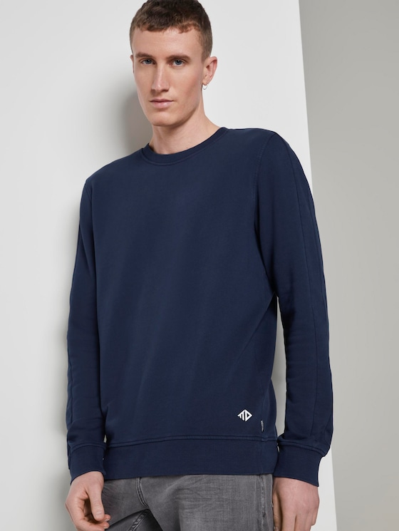 Sweatshirt mit Logo-Print - Männer - Sky Captain Blue - 5 - TOM TAILOR Denim