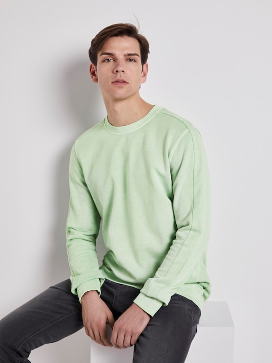 Sweatshirt mit Logo-Print - Männer - soft neo green - 5 - TOM TAILOR Denim