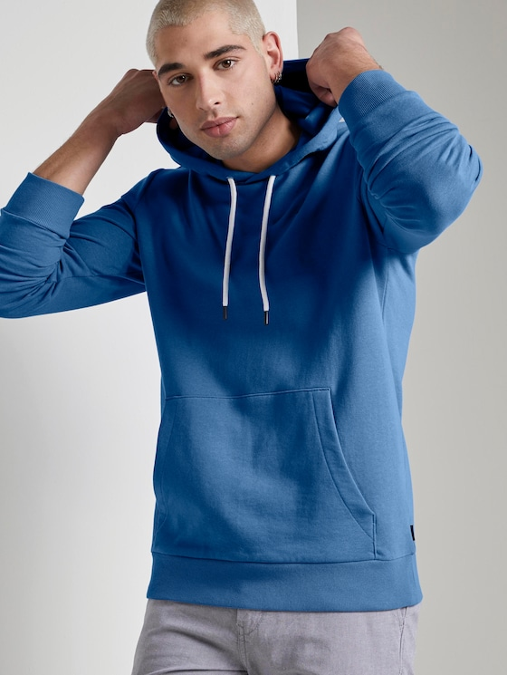 Hoodie with a logo print - Men - water sport blue - 5 - TOM TAILOR Denim