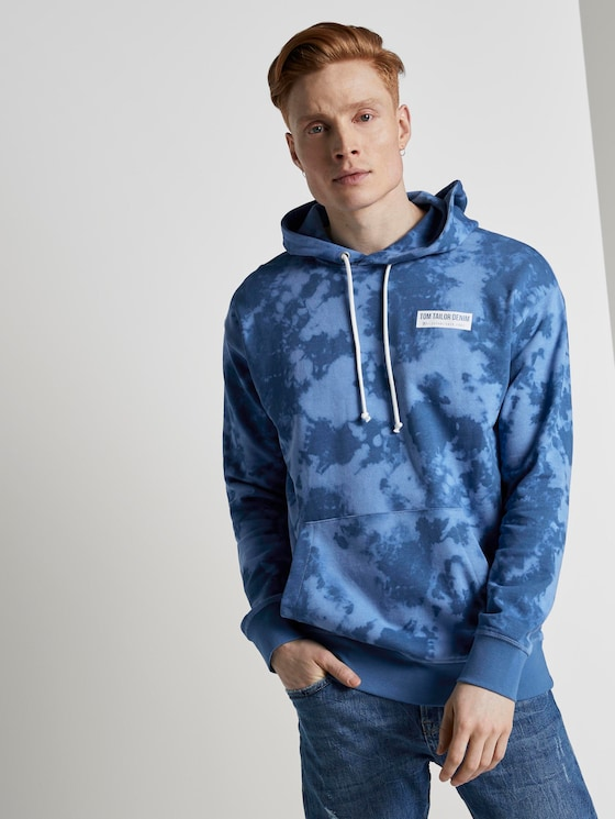 Hoodie in batik look - Mannen - blue big batik print - 5 - TOM TAILOR Denim