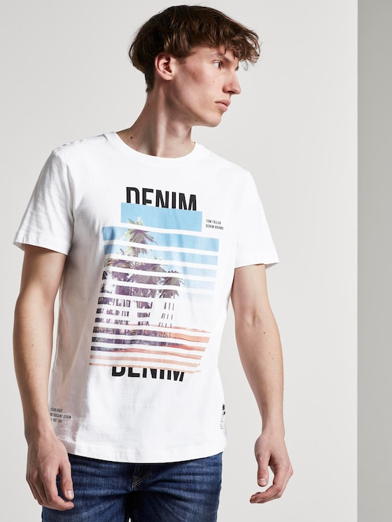 T-shirt with a palm tree print - Men - White - 5 - TOM TAILOR Denim