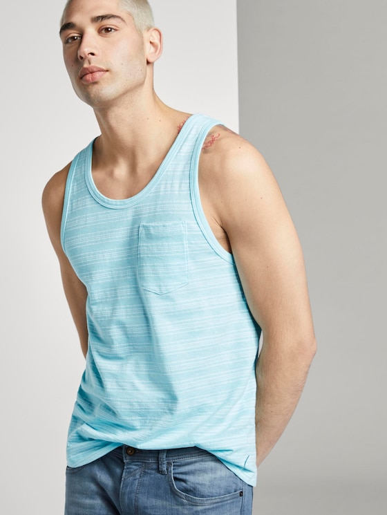 Tank-Top mit Streifenstruktur - Männer - soft sky blue mixed structure - 5 - TOM TAILOR Denim