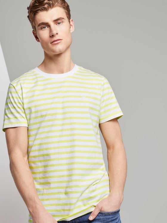 Gestreiftes T-Shirt mit Bio-Baumwolle - Männer - canary light yarn dye stripe - 5 - TOM TAILOR Denim