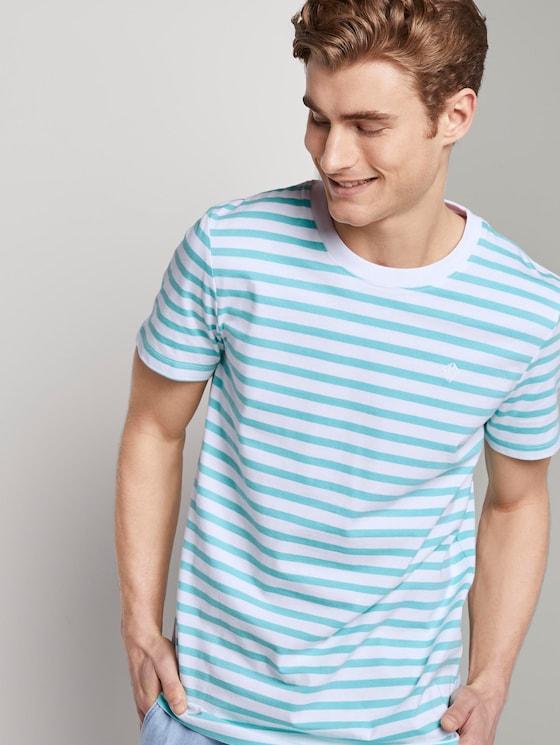 Gestreiftes T-Shirt mit Bio-Baumwolle - Männer - soft sky blue yarn dye stripe - 5 - TOM TAILOR Denim