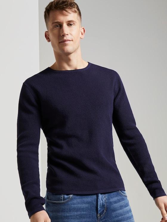Strukturierter Pullover - Männer - Atlantic Ocean Blue - 5 - TOM TAILOR Denim