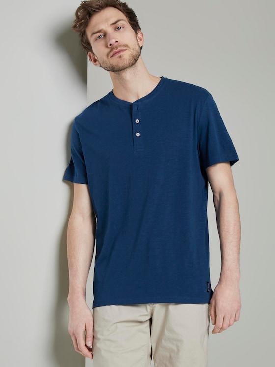 Basic Henley-T-Shirt in Melange-Optik - Männer - after dark blue - 5 - TOM TAILOR
