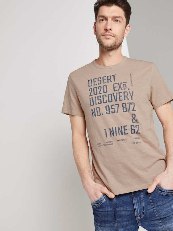 Meliertes T-Shirt mit Print - Männer - Silver Ecru - 5 - TOM TAILOR