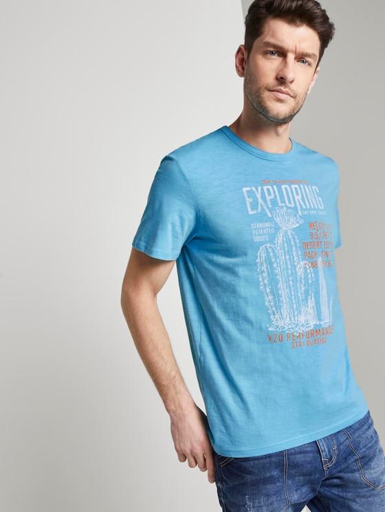 Meliertes T-Shirt mit Print - Männer - crystal sea blue - 5 - TOM TAILOR
