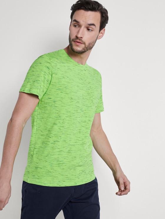 T-Shirt in Melange-Optik - Männer - neon green melange inject - 5 - TOM TAILOR