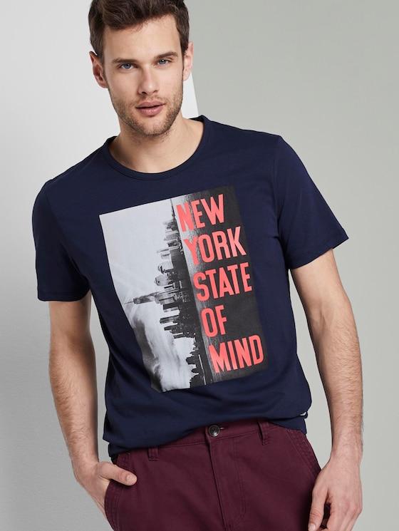 T-Shirt mit NYC-Print - Männer - Black Iris Blue - 5 - TOM TAILOR