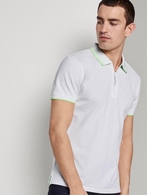 Poloshirt mit Reißverschluss - Männer - White - 5 - TOM TAILOR