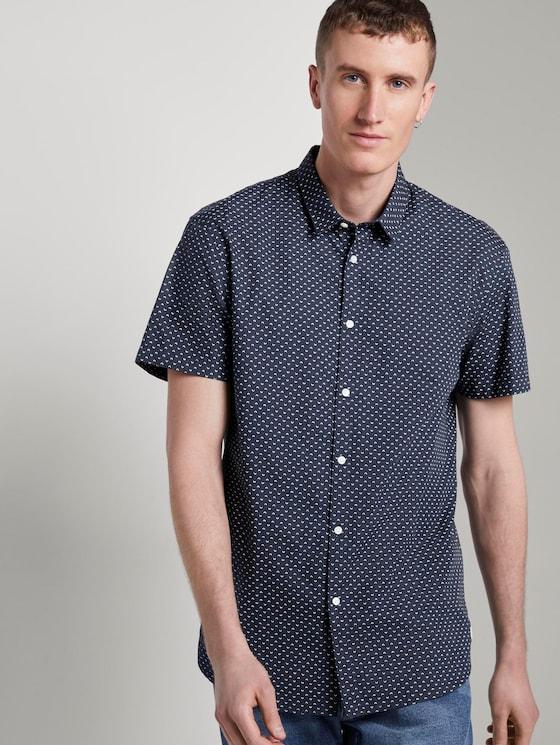 Patterned short-sleeved shirt - Men - navy corn print - 5 - TOM TAILOR Denim