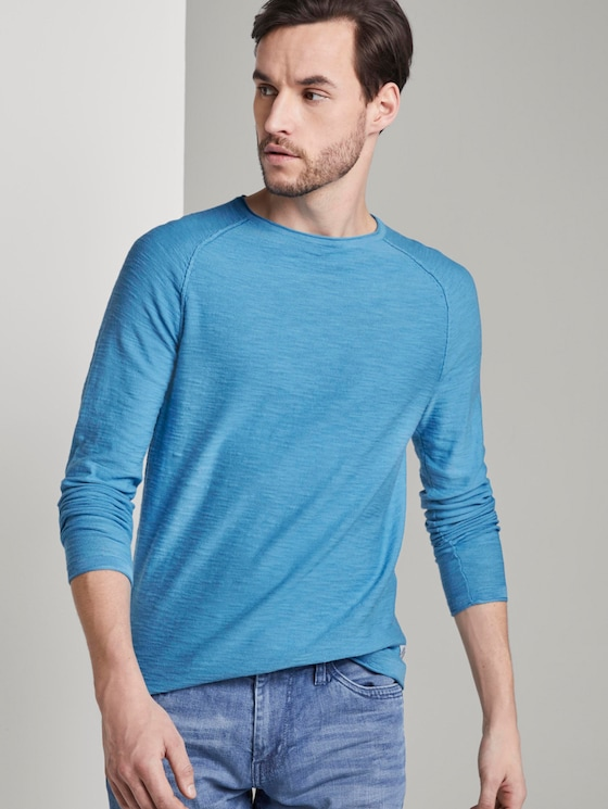Feiner Strickpullover mit Struktur - Männer - soft cloud blue - 5 - TOM TAILOR