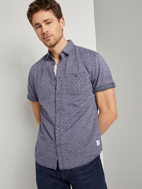 Short-sleeved shirt with an all-over print - Men - navy white fil a fil dobby - 5 - TOM TAILOR