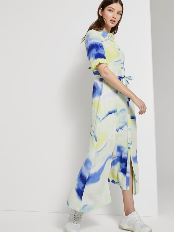 Batik-Midikleid mit Schllitzen - Frauen - green blue watercolor print - 5 - TOM TAILOR Denim
