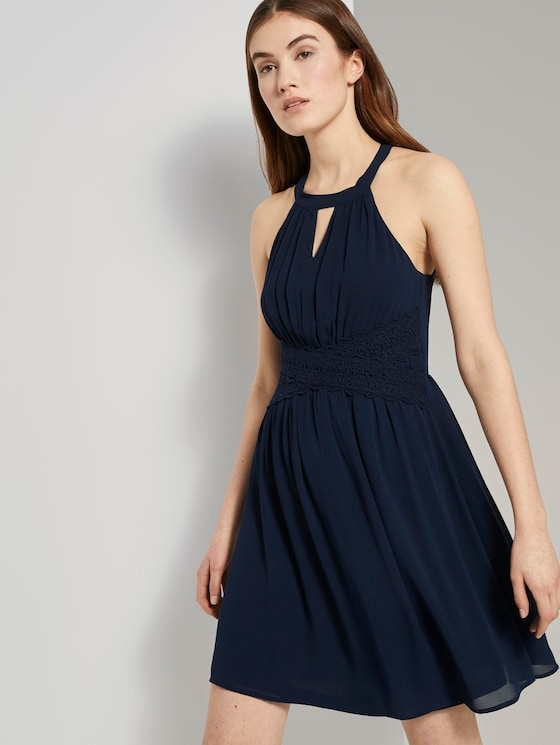 Mini Chiffonkleid mit Spitze - Frauen - Real Navy Blue - 5 - TOM TAILOR Denim