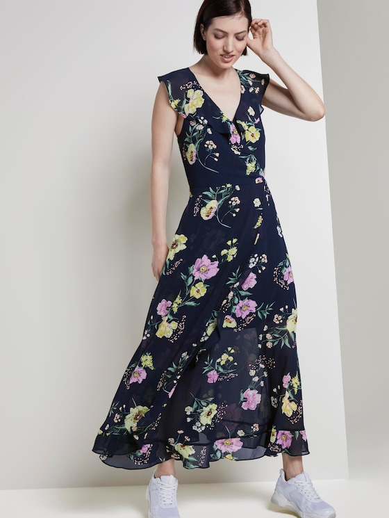 Volantkleid in Maxi-Länge mit floralem Print - Frauen - navy blue flower print - 5 - TOM TAILOR Denim