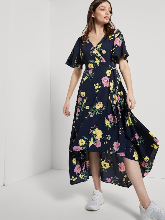 Flowing maxi wrap dress with a floral print - Women - navy blue flower print - 5 - TOM TAILOR Denim