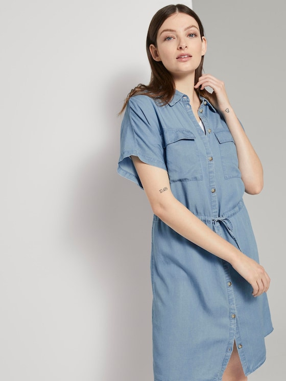 Utility shirt dress made of Lyocell - Women - light stone bright blue denim - 5 - TOM TAILOR Denim