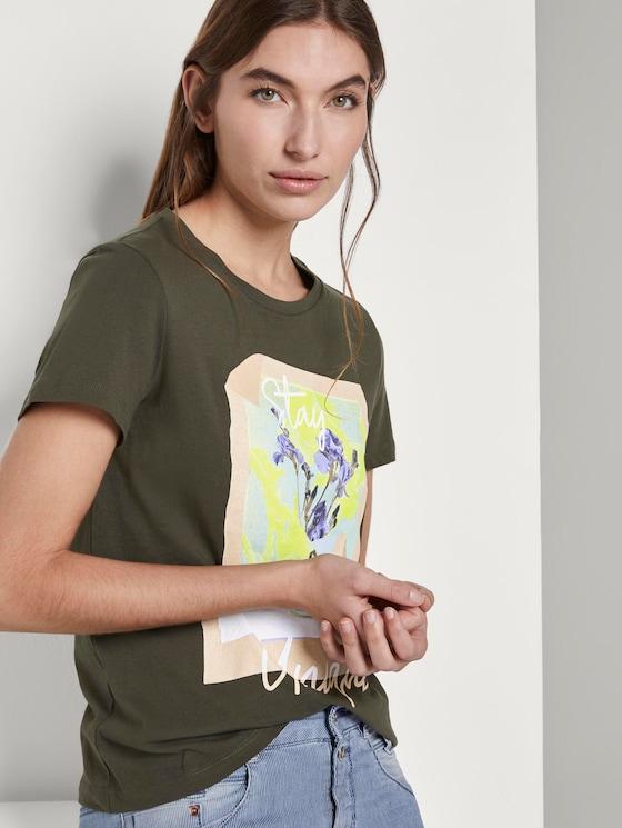 T-Shirt mit floralem Print - Frauen - Woodland Green - 5 - TOM TAILOR