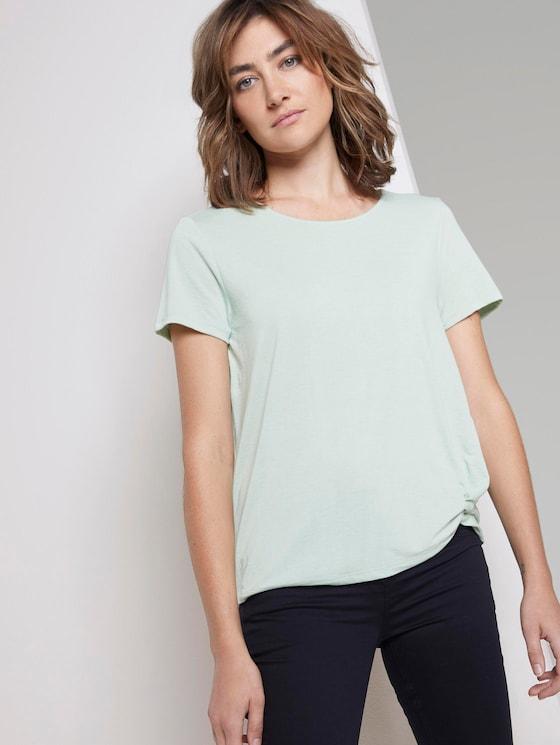 Schlichtes T-Shirt mit Knotendetail - Frauen - Fresh Mint Green - 5 - TOM TAILOR