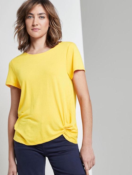 Schlichtes T-Shirt mit Knotendetail - Frauen - deep golden yellow - 5 - TOM TAILOR