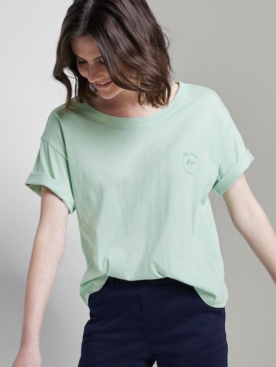 T-Shirt in Farbwaschung mit kleinem Print - Frauen - Fresh Mint Green - 5 - TOM TAILOR