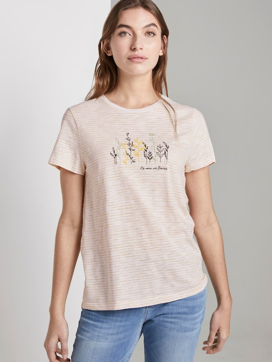Striped T-shirt with a floral print - Women - offwhite yellow thin stripe - 5 - TOM TAILOR