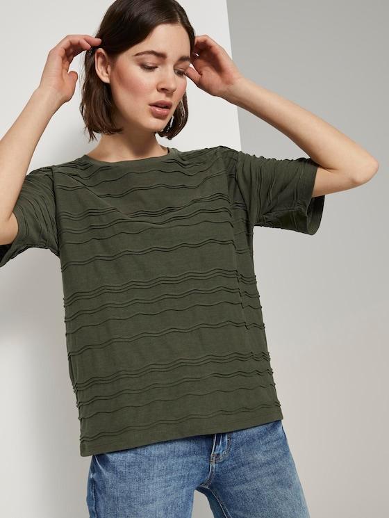 Oversized-T-Shirt mit Strukturmuster - Frauen - Woodland Green - 5 - TOM TAILOR