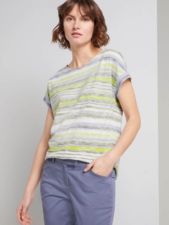 T-shirt with a light striped pattern - Women - green multicolor stripe - 5 - TOM TAILOR