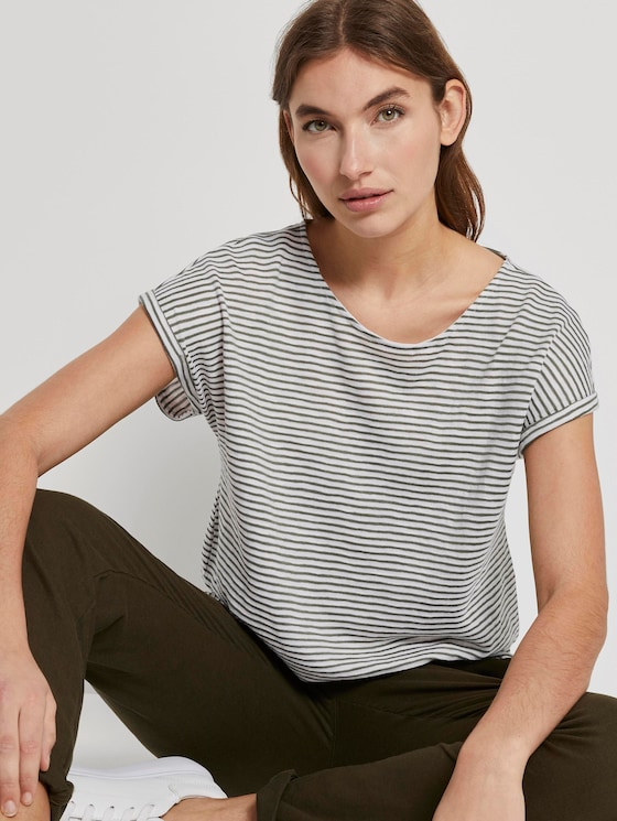 Striped T-shirt with an elastic waistband - Women - offwhite khaki stripe - 5 - TOM TAILOR