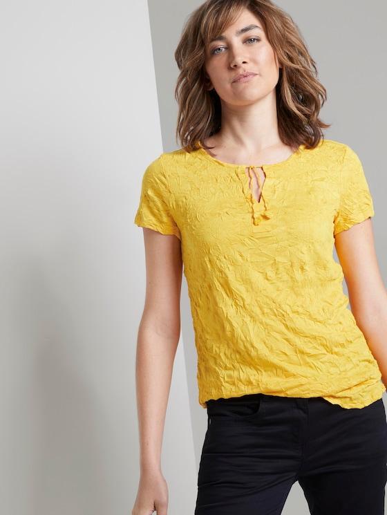 Gemustertes T-Shirt mit Bindedetail in Crincle-Optik - Frauen - deep golden yellow - 5 - TOM TAILOR