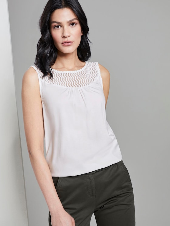 Top with lace inserts - Women - Whisper White - 5 - TOM TAILOR