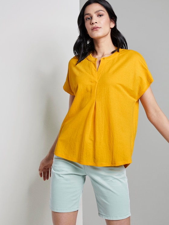 T-Shirt mit Henley-Ausschnitt - Frauen - deep golden yellow - 5 - TOM TAILOR