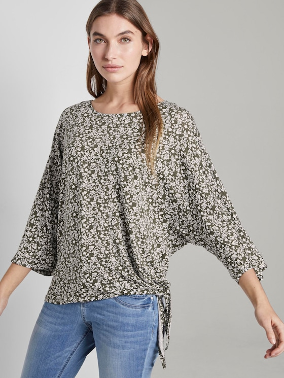 Printed shirt with knotted details - Women - khaki offwhite floral design - 5 - TOM TAILOR