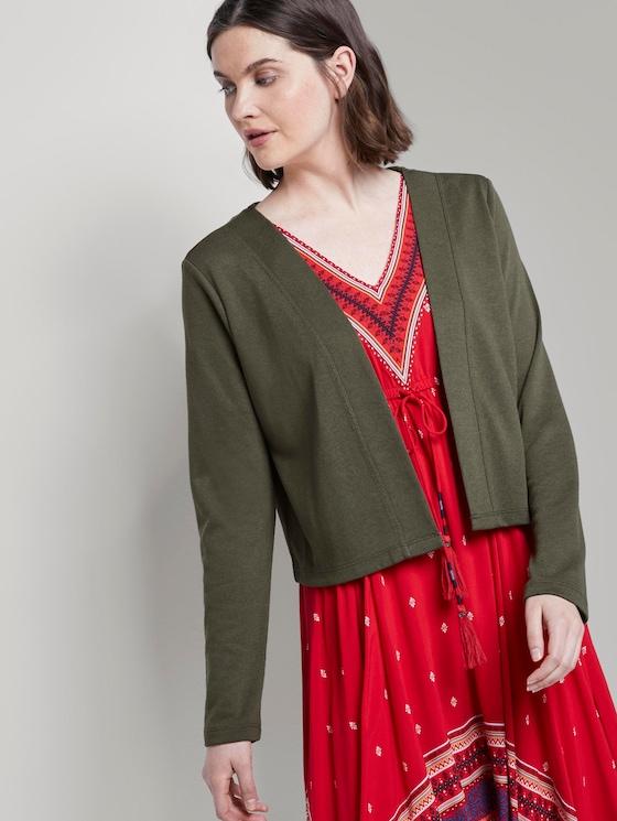 Schlichter Shirt-Cardigan - Frauen - Woodland Green - 5 - TOM TAILOR