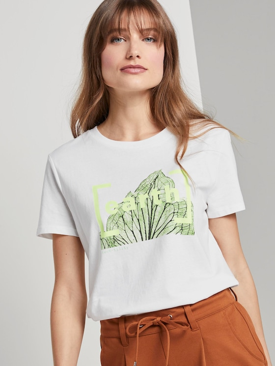 T-shirt with a print in a loose fit - Women - Off White - 5 - TOM TAILOR Denim