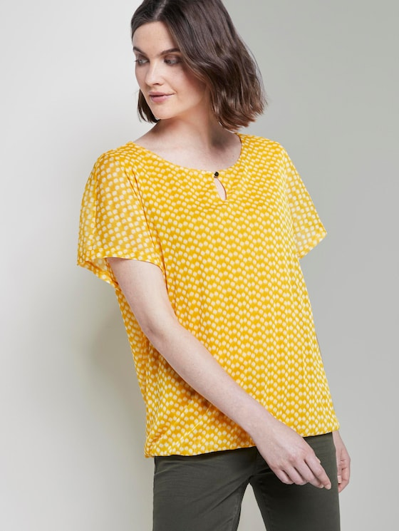Gemustertes T-Shirt mit Mesh-Overlayer - Frauen - yellow dot design - 5 - TOM TAILOR
