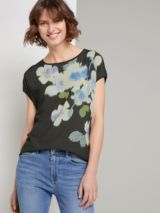 T-shirt in a material mix with a floral print - Women - Woodland Green - 5 - TOM TAILOR