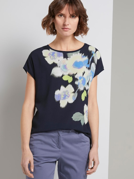 T-Shirt im Material-Mix mit floralem Print - Frauen - Sky Captain Blue - 5 - TOM TAILOR