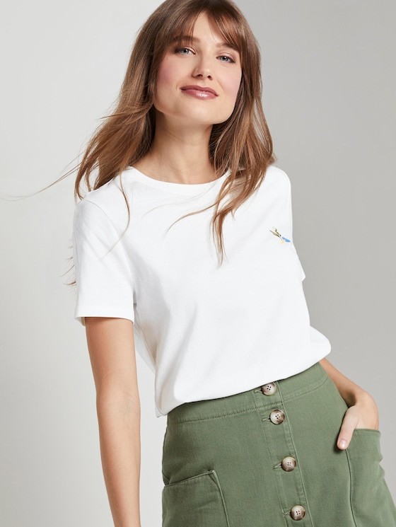 T-shirt with back print in a loose fit - Women - Off White - 5 - TOM TAILOR Denim