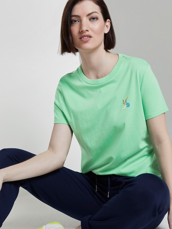 T-Shirt mit Rückenprint im Loose Fit - Frauen - dusty apple green - 5 - TOM TAILOR Denim