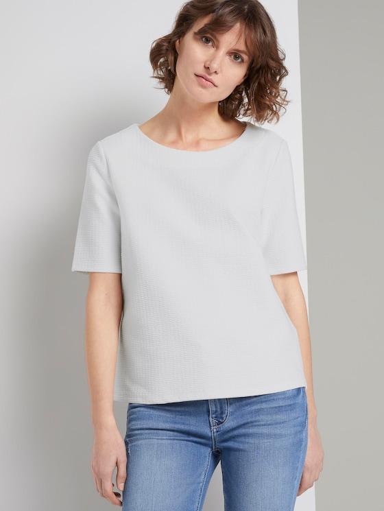 Strukturiertes Kurzarm-Sweatshirt - Frauen - Whisper White - 5 - TOM TAILOR